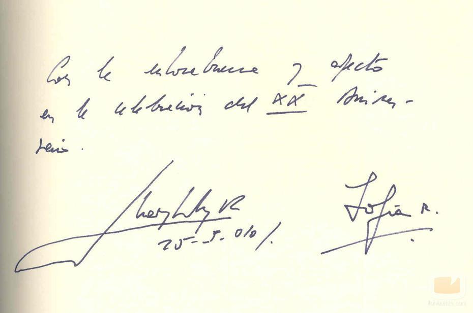 Letra y firma reyes Juan Carlos I y Sofía
